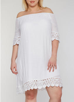 Plus Size Off the Shoulder Lace Trim Peasant Dress - WHITE - 0390056124467