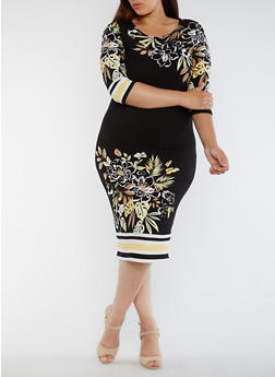 Plus Size Border Print Dress with 3/4 Sleeves - 0390056124521