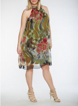 Plus Size Printed Dress with Sequined Neckline - 0390056124557