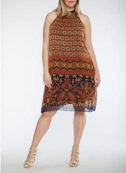 Plus Size Printed Dress with Jeweled Neckline - 0390056124558