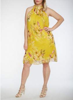 Plus Size Sleeveless Floral Print Dress with Jeweled Neckline - 0390056124561