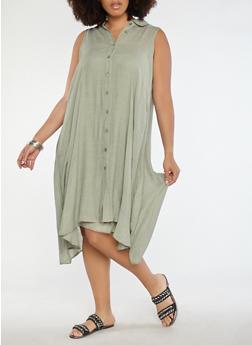 Plus Size Button Front Trapeze Dress - 0390056125668