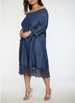 Plus Size Off the Shoulder Denim Dress - 0390056125741