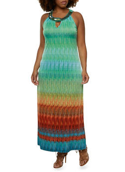 Plus Size Maxi Dress with Beaded Tulle Scoop Neck - 0390056129188