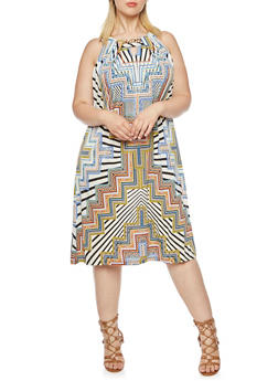 Plus Size Printed Halter Dress with Chain Accent - 0390056129285