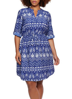 Plus Size Dashiki Print Shirt Dress - 0390056129301