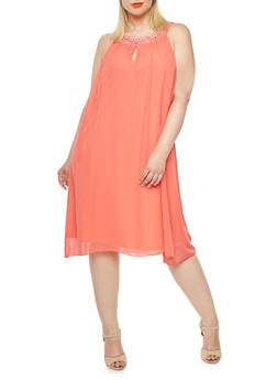 Plus Size Chiffon Midi Dress with Neckline Detail - 0390056129349
