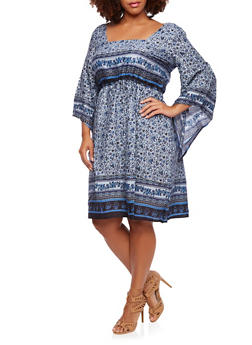 Plus Size Dress in Paisley Print and Asymmetrical Sleeves - 0390056129355