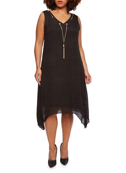 Plus Size Dress with Chain Accent and Sharkbite Hem - BLACK - 0390056129363