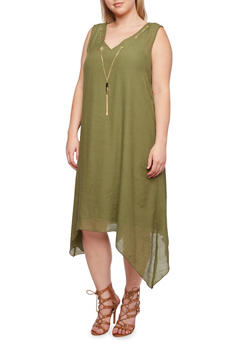 Plus Size Dress with Chain Accent and Sharkbite Hem - OLIVE - 0390056129363