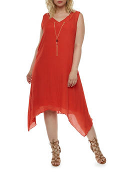 Plus Size Dress with Chain Accent and Sharkbite Hem - 0390056129363