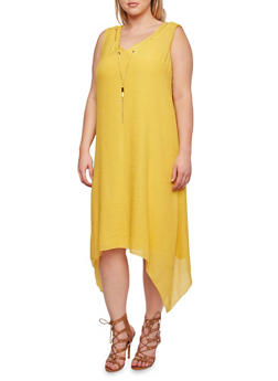 Plus Size Dress with Chain Accent and Sharkbite Hem - YELLOW - 0390056129363