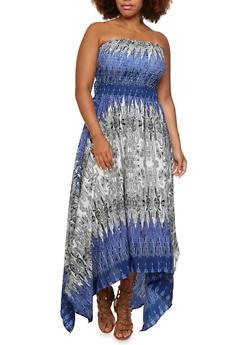 Plus Size Printed Dress with Asymmetrical Hem - 0390056129392