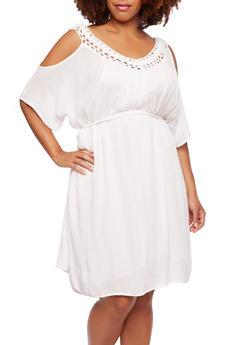 Plus Size Cold-Shoulder Dress with Crochet Trim - 0390056129482