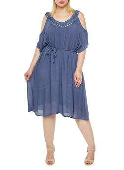Plus Size Cold-Shoulder Dress with Crochet Trim - 0390056129483