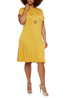 Plus Size Swing Dress with Necklace - 0390058750504