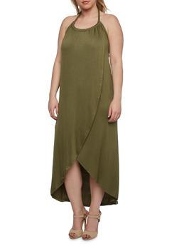 Plus Size Pleated Halter Neck Dress with Tulip Hem - 0390058750672