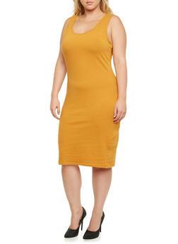 Plus Size Knit Tank Dress - 0390058751042
