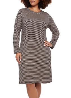 Plus Size Striped Dress with Scoop Neck - 0390058751160