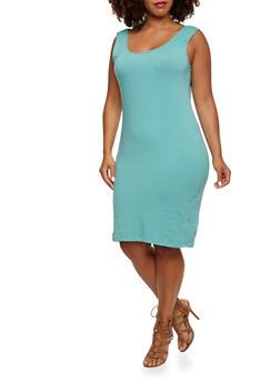 Plus Size Solid Tank Dress - 0390058751172