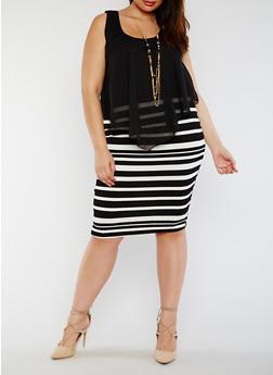 Plus Size Striped Knit Dress with Chiffon Overlay - 0390058752272