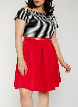 Plus Size Belted Off the Shoulder Striped Dress - 0390058752505