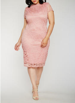 Plus Size Funnel Neck Lace Dress - 0390058752598