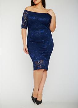 Plus Size Off the Shoulder Lace Midi Dress - 0390058752607