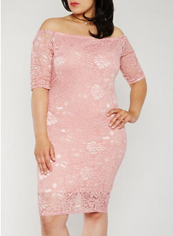 Plus Size Off the Shoulder Lace Midi Dress - 0390058752607
