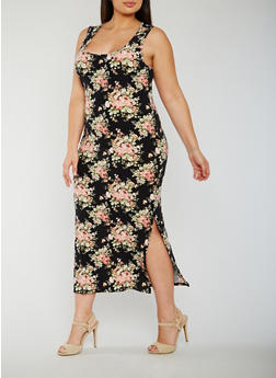 Plus Size Floral Maxi Dress with Side Slits - 0390058752616