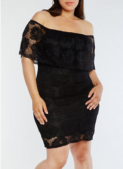 Plus Size Lace Off the Shoulder Dress - BLACK - 0390058752673
