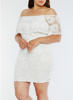 Plus Size Lace Off the Shoulder Dress - OFF WHITE - 0390058752673