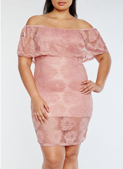 Plus Size Lace Off the Shoulder Dress - 0390058752673