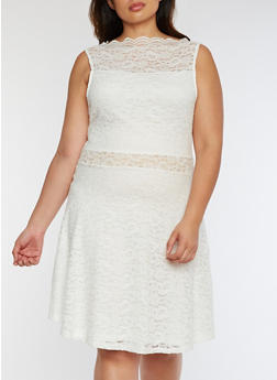 Plus Size Lace Skater Dress - 0390058752684