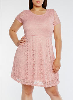 Plus Size Lace Short Sleeve Skater Dress - 0390058752685