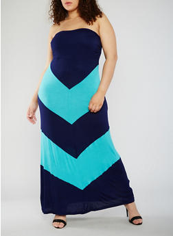 Plus Size Strapless Chevron Color Block Maxi Dress - 0390058752995