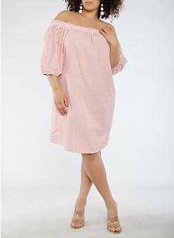 Plus Size Striped Off the Shoulder Shift Dress - 0390058753637