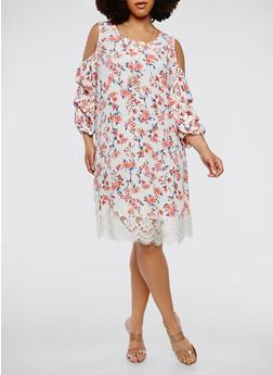 Plus Size Floral Cold Shoulder Dress - 0390058753687