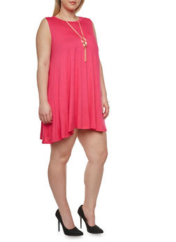 Plus Size Sleeveless Swing Dress with Necklace - 0390058930126
