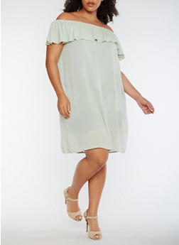 Plus Size Gauze Knit Off the Shoulder Peasant Dress - 0390058930130