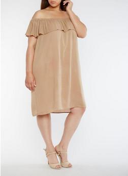 Plus Size Gauze Knit Off the Shoulder Peasant Dress - 0390058930130
