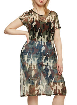 Plus Size Sheer Camouflage Duster Dress - 0390058930144