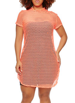 Plus Size Mesh Dress with Attached Hood - 0390058931238