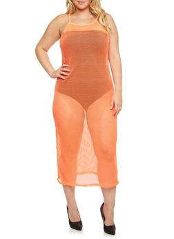 Plus Size Sheer Mesh Fishnet Dress with Spaghetti Straps - 0390058931239