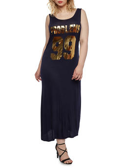Plus Size Maxi Dress with Metallic 99 Problems Graphic - 0390058931243