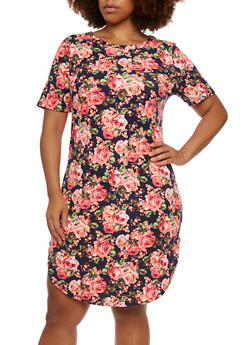 Plus Size Rib-Knit Dress in Floral Print - 0390058931261