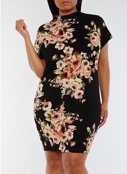 Plus Size Floral Funnel Neck Dress - 0390058932003