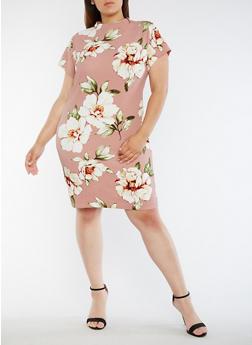 Plus Size Floral Funnel Neck Midi Dress - 0390058932004