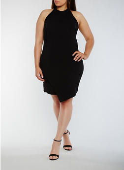 Plus Size Asymmetrical High Neck Dress - BLACK - 0390058933001