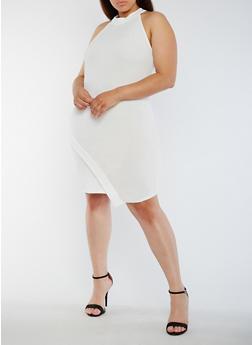 Plus Size Asymmetrical High Neck Dress - IVORY - 0390058933001